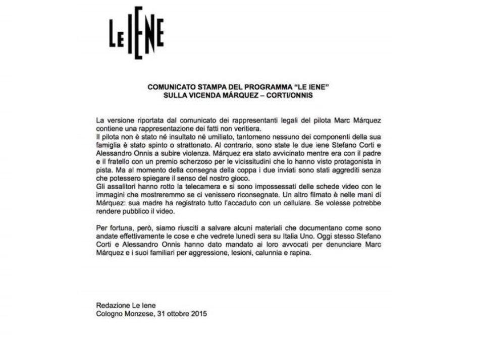 La risposta de Le Iene: aggressione e calunnia