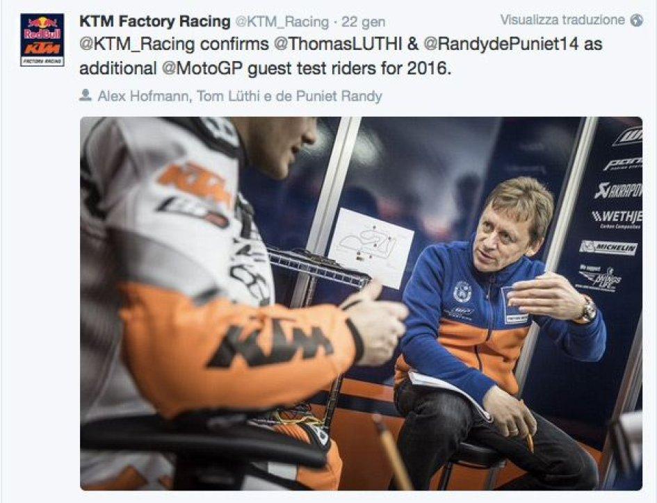 KTM arruola De Puniet e Luthi come tester