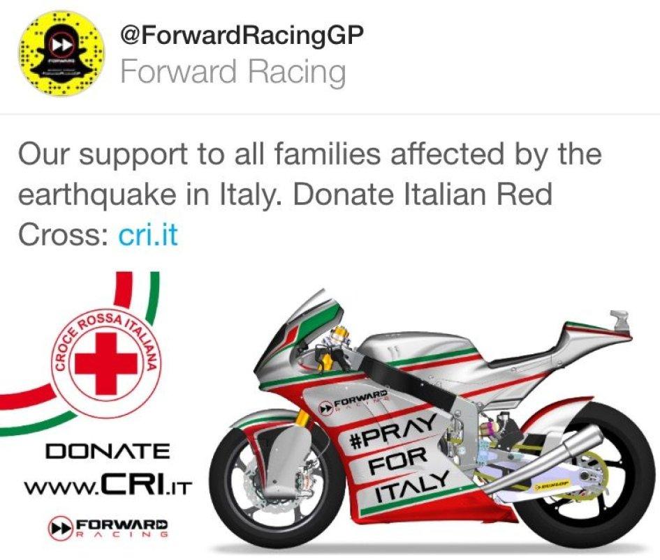 Forward supporta  la Croce Rossa per i terremotati