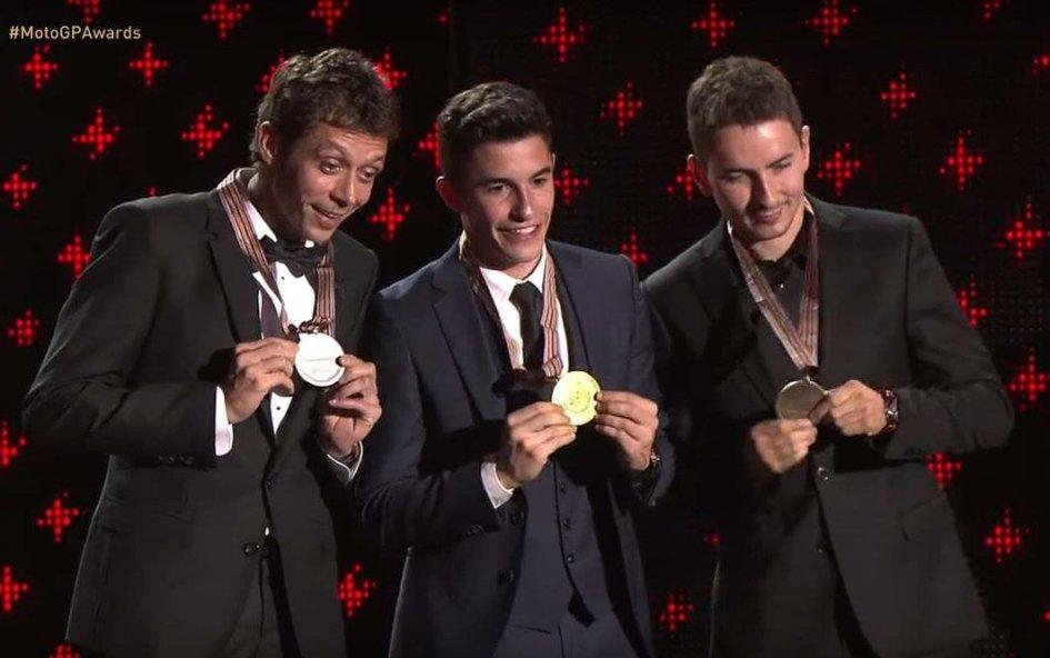 Marquez, Rossi e Lorenzo premiati ai MotoGP awards