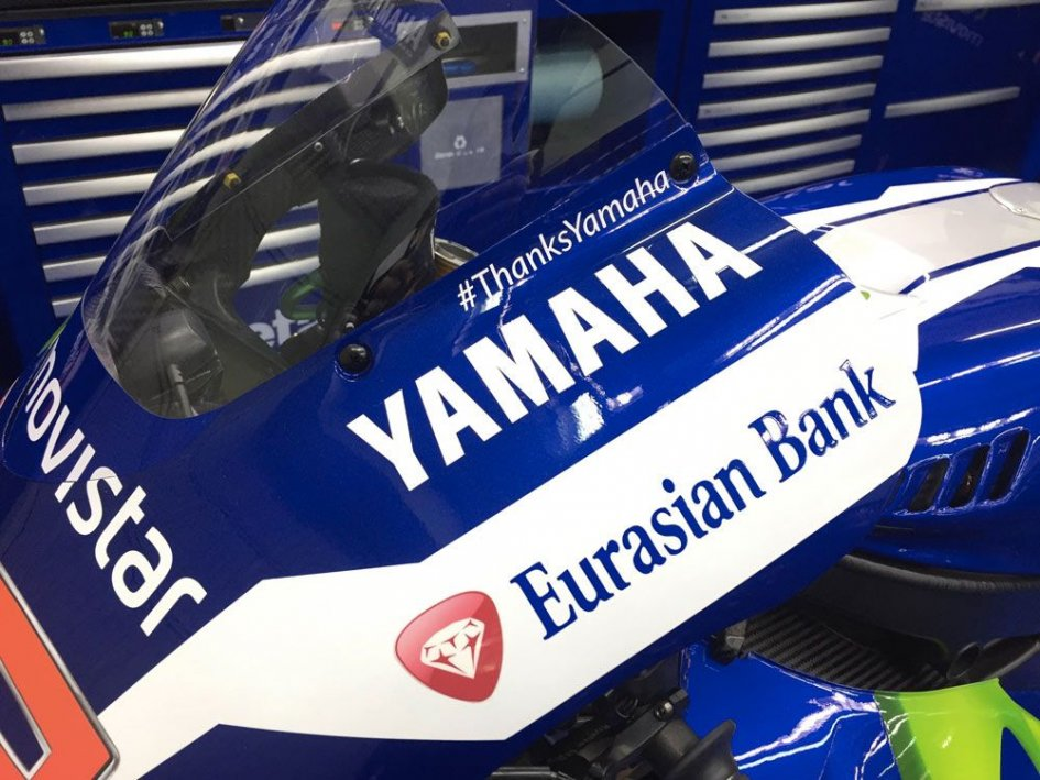 Lorenzo thanks Yamaha on his bike