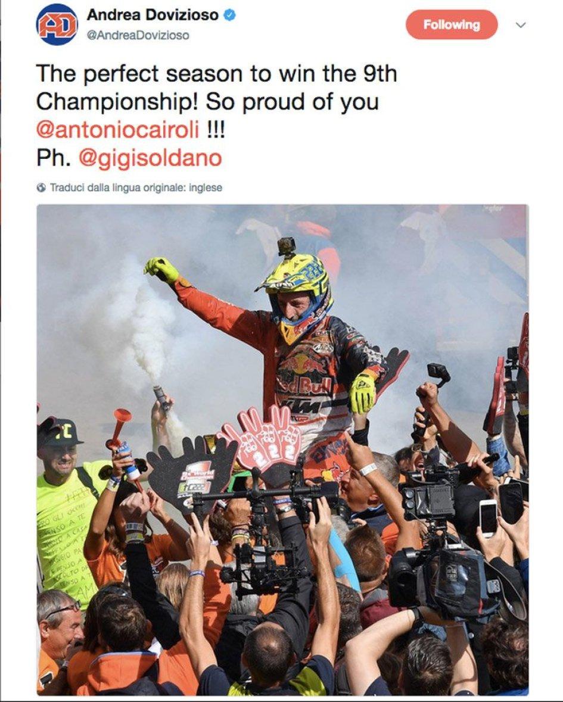 News: Dovizioso: Cairoli, sono orgoglioso per te