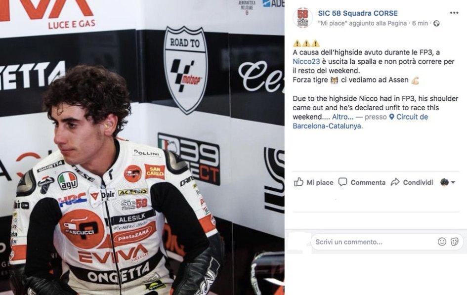 Moto3: Spalla lussata per Antonelli, non correrà a Barcellona