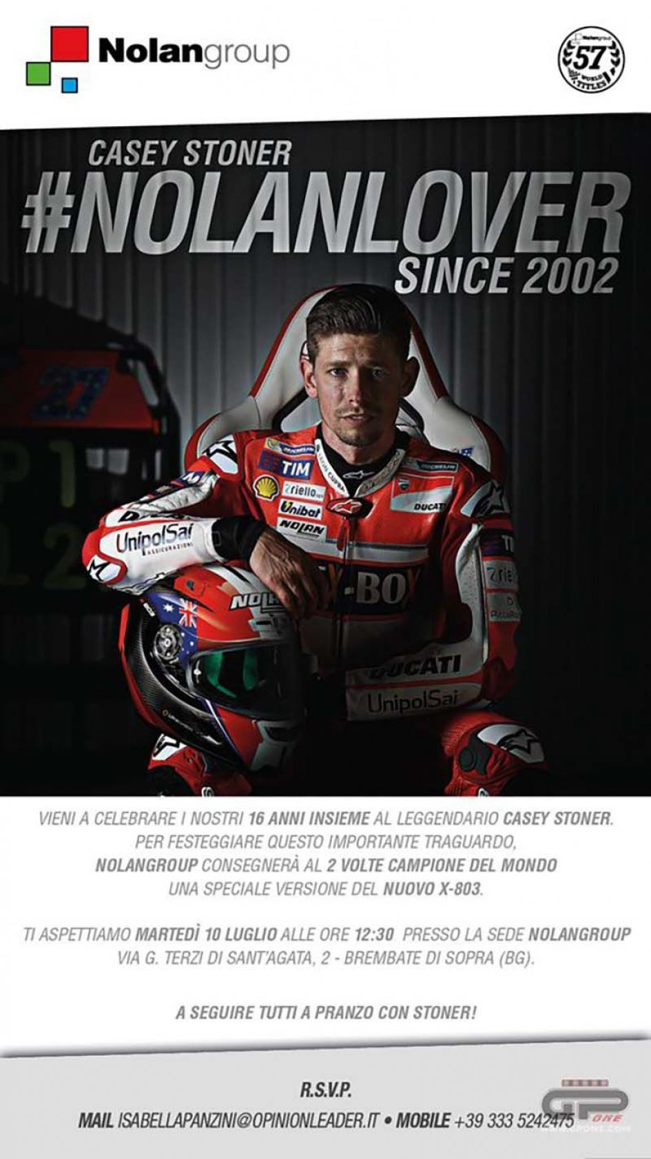 MotoGP: Casey Stoner guest Nolan at the Brembate factory