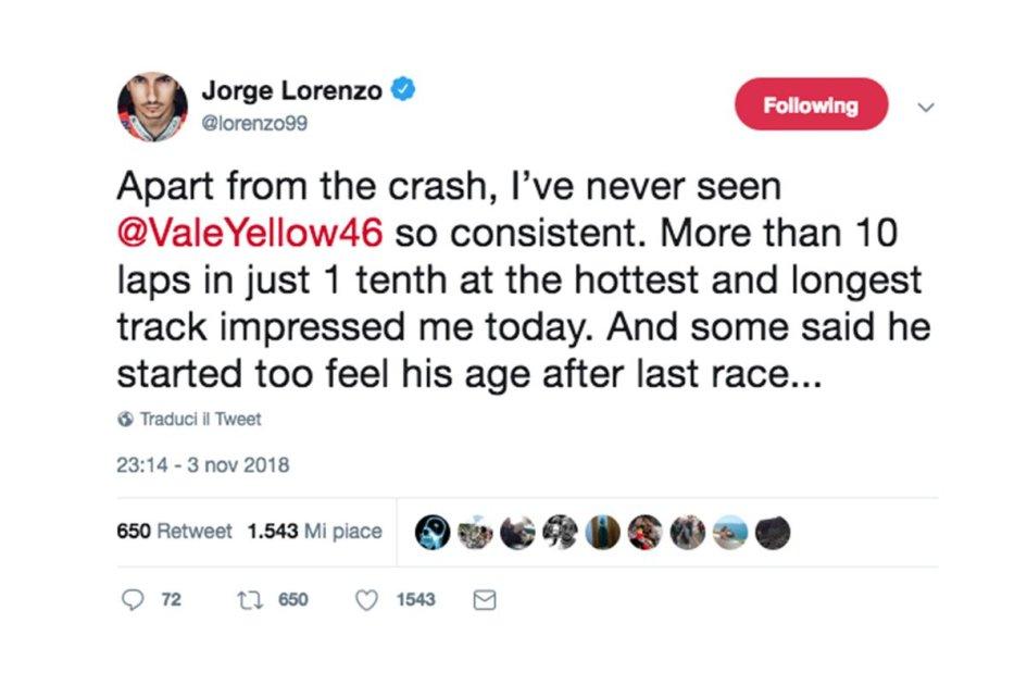 """MotoGP: Lorenzo:""""Mai visto Rossi così e qualcuno dice che sente l'età.."""""""