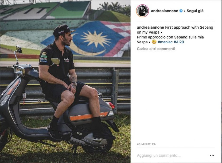 MotoGP: Iannone, first test day at Sepang ... on a Vespa