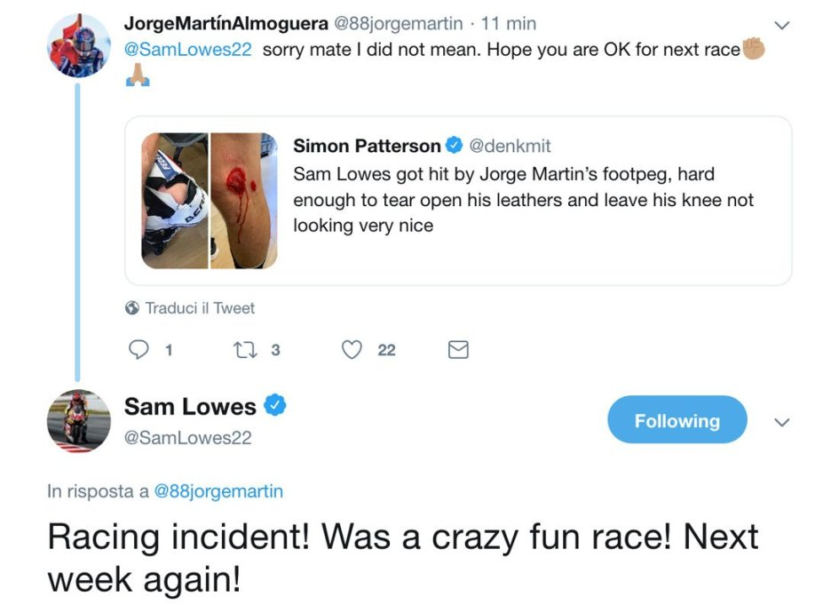 Moto2: La pedana di Martin buca il ginocchio di Lowes, che accetta le scuse