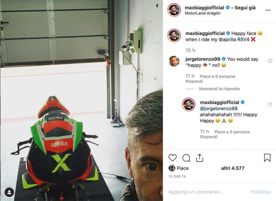 """MotoGP: Lorenzo corregge Biaggi: """"più che una faccia, hai un occhio felice"""""""