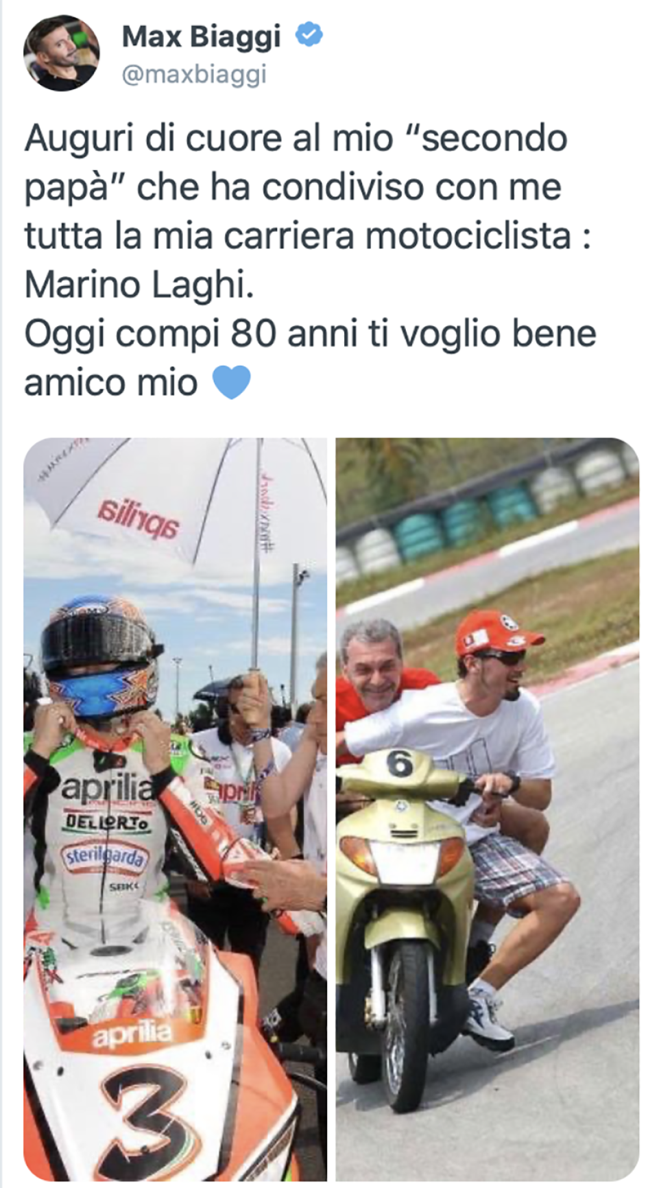 SBK: The historical physiotherapist of Biaggi, Marino Laghi turns 80 years old