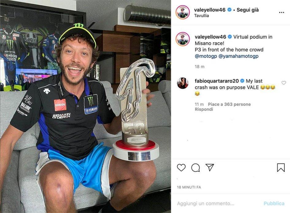 """MotoGP: Quartararo scherza con Rossi: """"sono caduto per farti salire sul podio"""""""