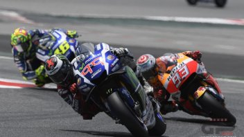 Marquez, Lorenzo and Rossi: three profs taking the Assen test