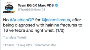 Frattura a vertebra T6 e polso nel warm up: Miller non corre
