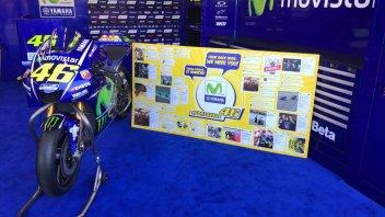 MotoGP: Il box Yamaha: gli auguri per Rossi vicino alla M1