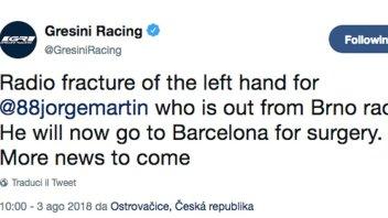 Moto3: Frattura del radio per Martin: sarà operato