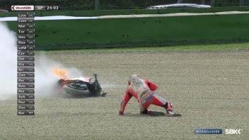 SBK: Imola: la Ducati V4 di Rinaldi va a fuoco in Superpole