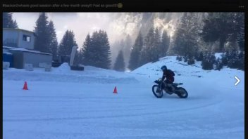 VIDEO. Loris Baz trains in the snow