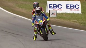 MotoAmerica: Wyman in the gravel with his Ducati, Elias gives him a lift