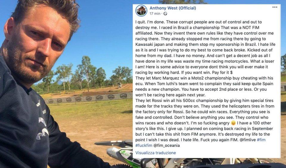 """MotoGP: West attacca la FIM: """"hanno barato per far vincere Rossi e Marquez"""""""
