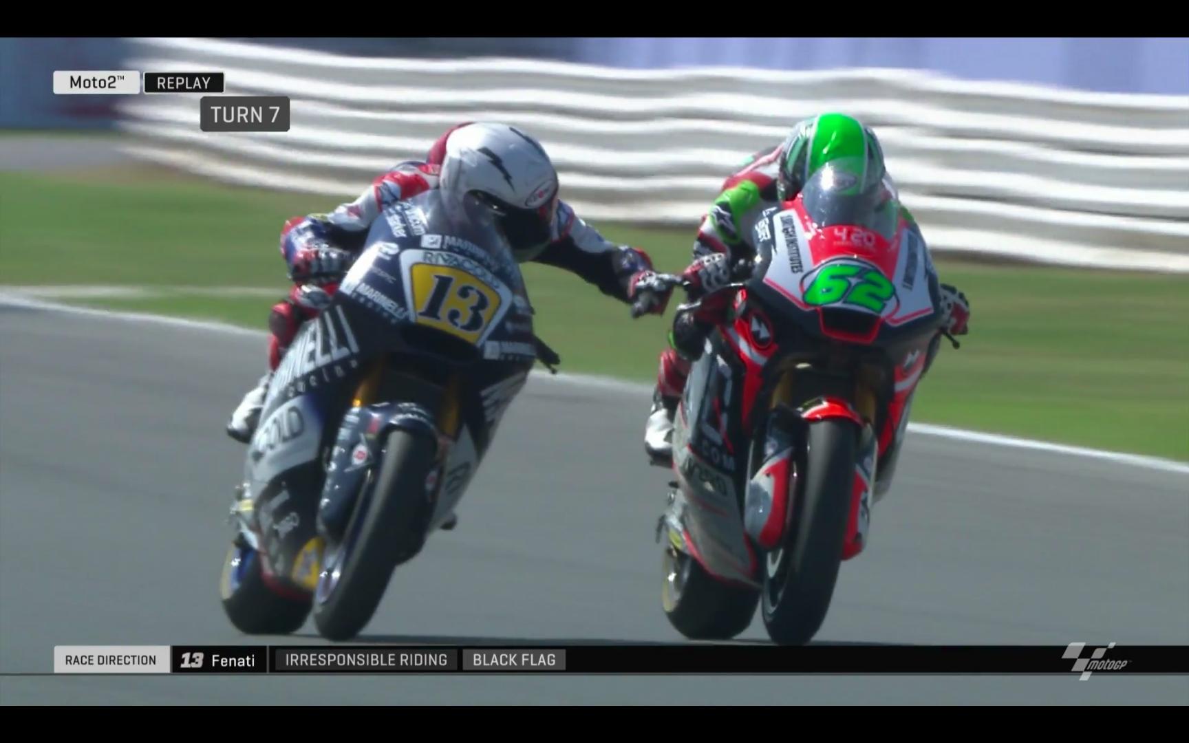 Follia di Fenati in Moto 2 a Misano: preme la leva del freno di Manzi ai 250 all'ora. Squalificato