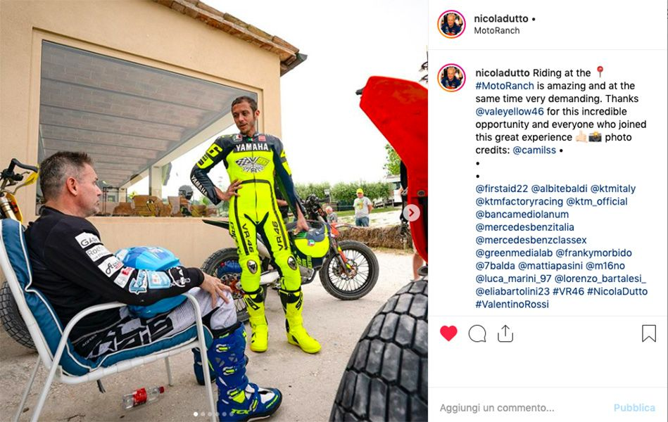 MotoGP, Nicola Dutto rides at the Ranch with Valentino Rossi