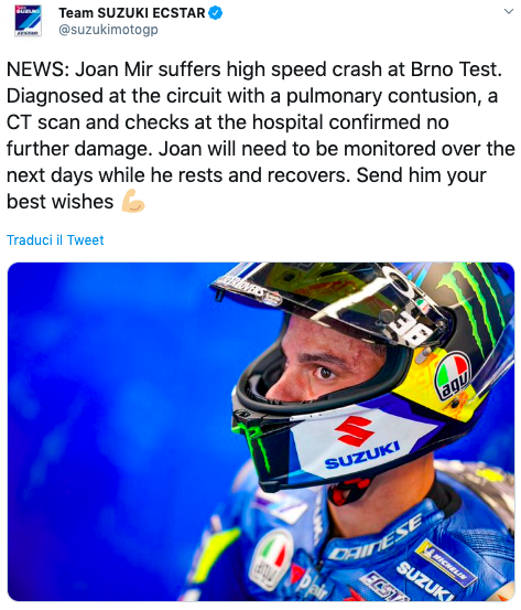 MotoGP, Joan Mir salta il Gran Premio d'Austria: Suzuki non vuole rischi