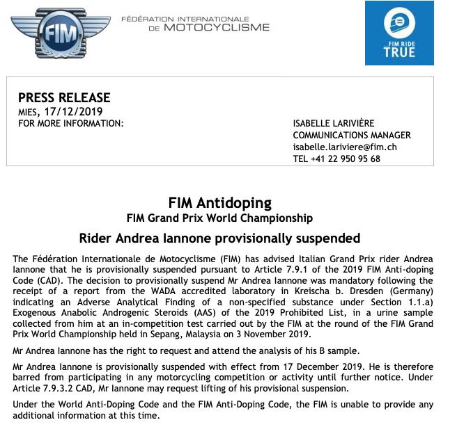 Doping, Andrea Iannone positivo e sospeso dalla Fim