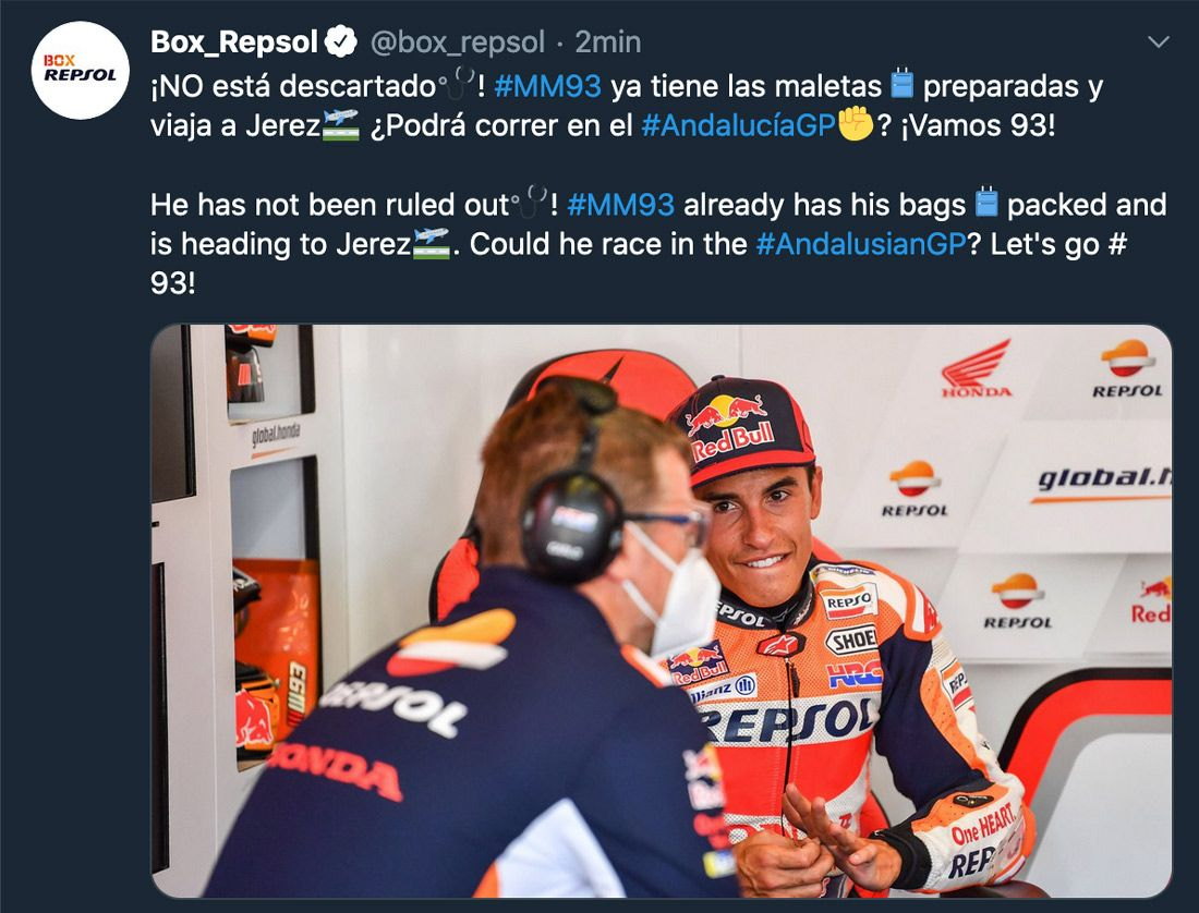 MotoGP, BREAKING NEWS - Marc Marquez on plane to Jerez, attempting to race