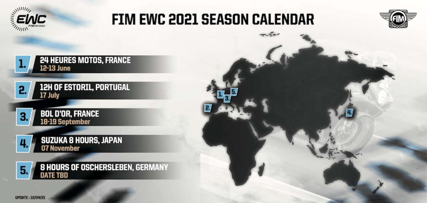 SBK, Revised FIM EWC Calendar: first race The 24 Heures Motos at Le Mans