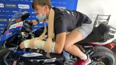 Moto2: LA FOTO - Barry Baltus in sella alla NTS con il gesso
