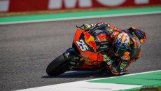 Moto2: La pioggia non ferma Fernandez, Di Giannantonio e Arbolino in seconda fila
