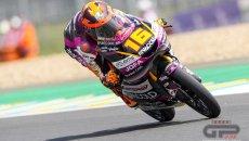 Moto3: Le Mans: Magia di Migno, in pole con le slick su pista umida, 2° Rossi