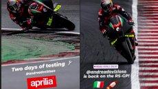 MotoGP: Test Dovizioso e Aprilia a Misano: i primi scatti delle prove di matrimonio