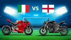 Moto - News: Euro 2020, Italy vs England: the bikes line up on the pitch for the final