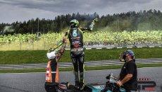 """MotoGP: Rossi: """"non è stata una sfida con me stesso restare in pista con le slick"""""""