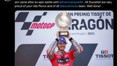 """MotoGP: Domenicali: """"Ben fatto Pecco, tutti i ducatisti sono orgogliosi di te"""""""