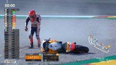 MotoGP: Marc Marquez down again: video of FP3 crash at Aragon
