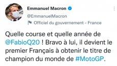 MotoGP: Vive la France: arriva il messaggio di Macron per Quartararo
