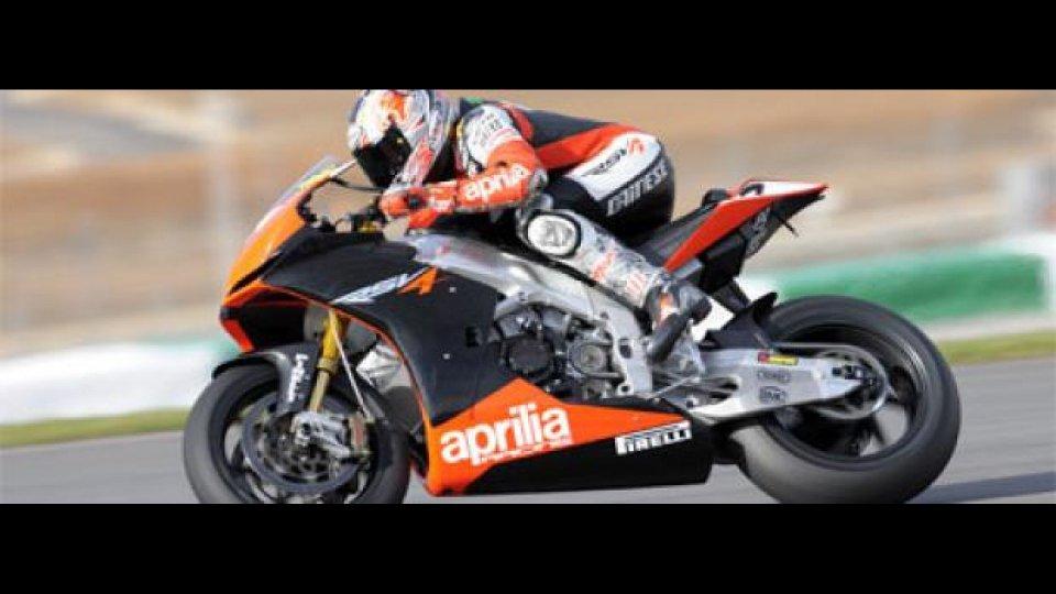 Moto - News: WBSK 2010, Portimao, Test: Aprilia work in progress