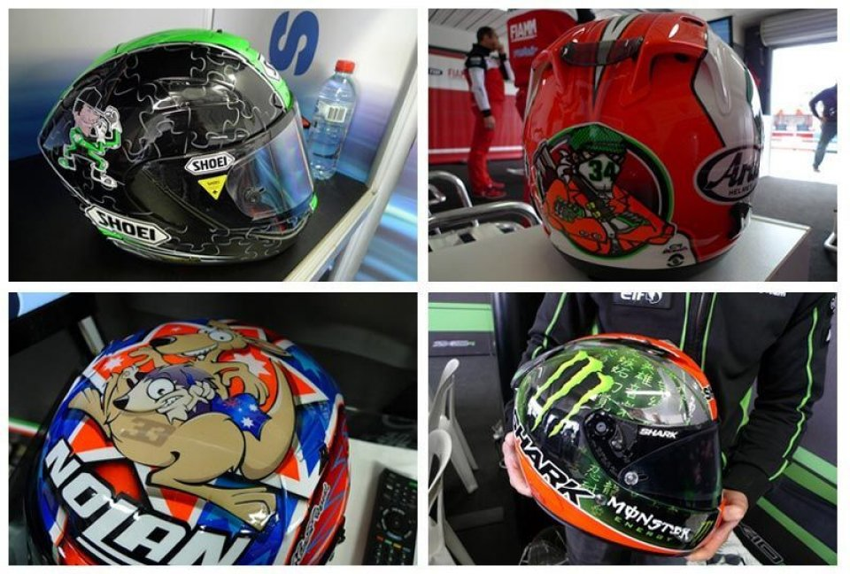 I caschi dei piloti della Superbike