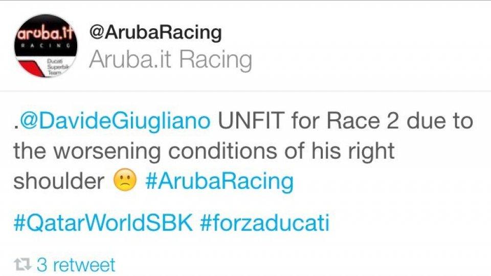 Giugliano 'unfit' for Race2 in Qatar