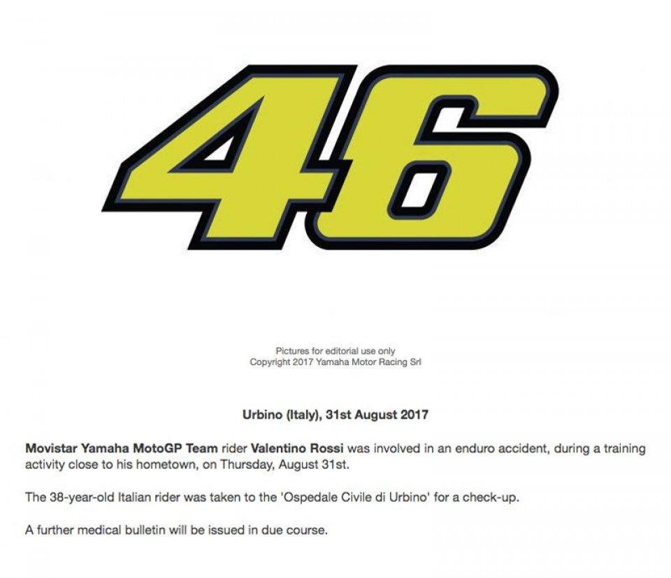 MotoGP: Yamaha conferma l'incidente di Valentino