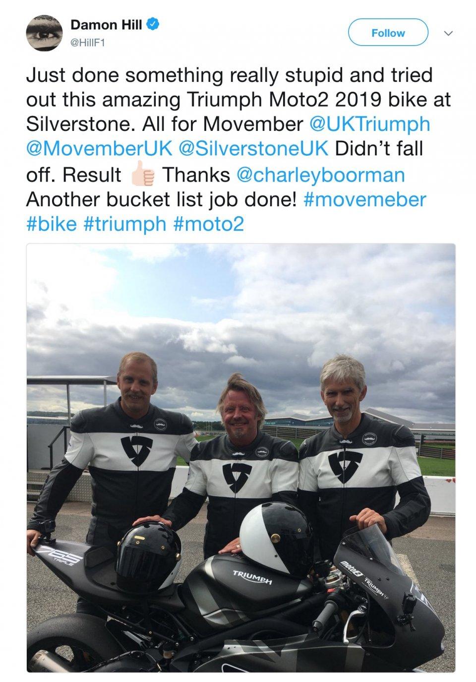 Moto2: Damon Hill, from F1 to Triumph Moto2 at Silverstone