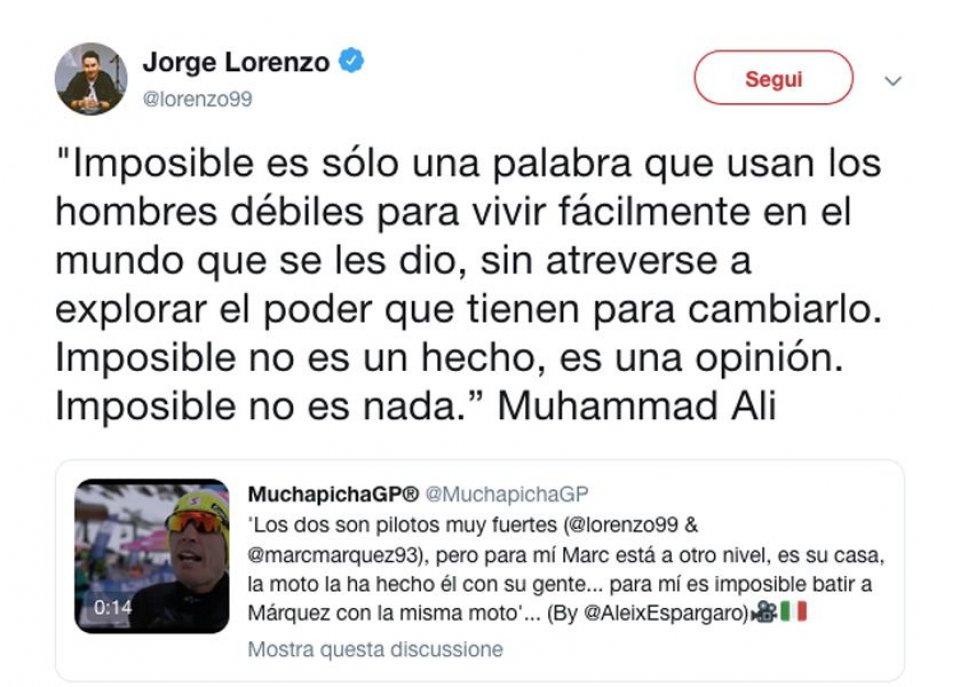 """MotoGP: Lorenzo ribatte ad Aleix: """"Battere Marquez sulla Honda? Nulla è impossibile"""""""