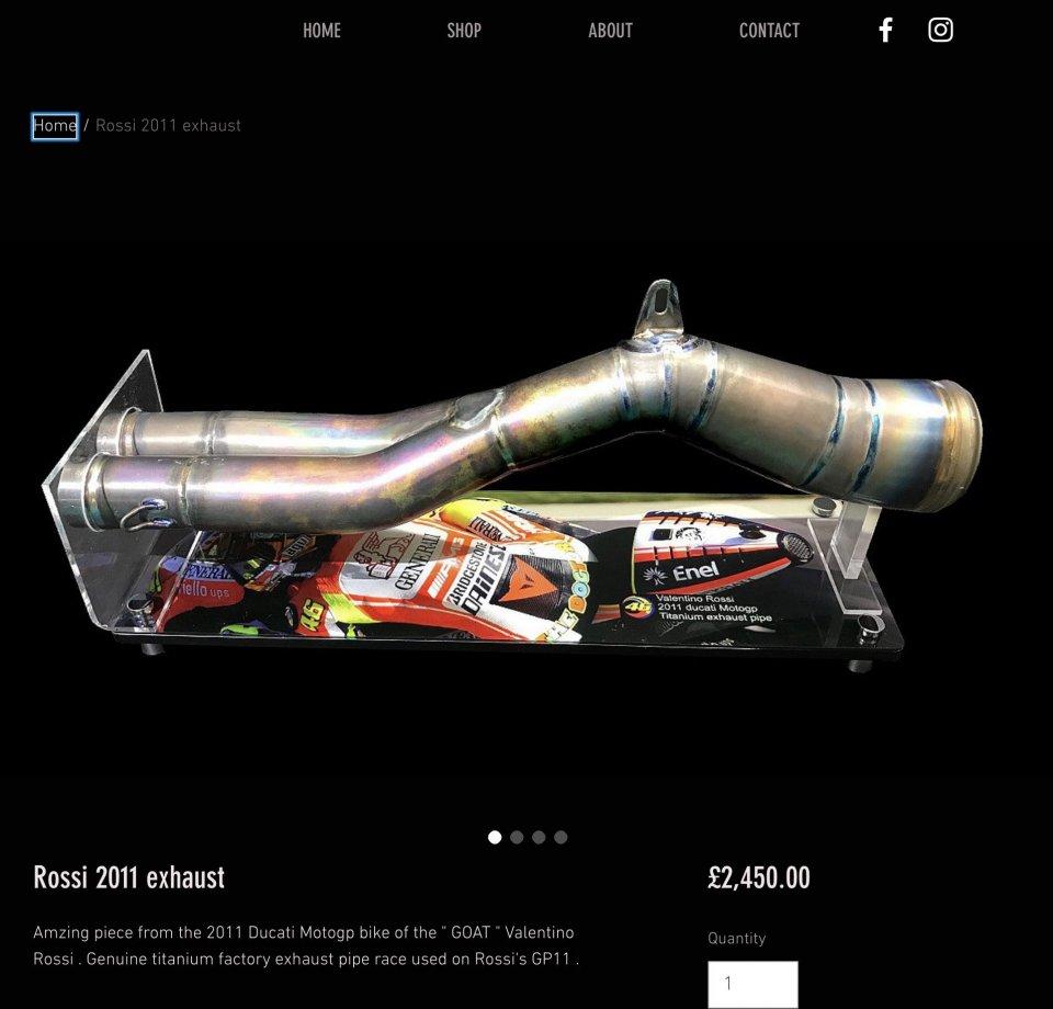 MotoGP: In vendita gli scarichi della Ducati di Valentino Rossi