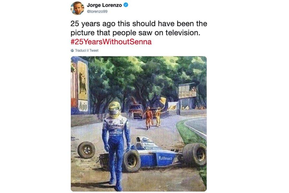 """MotoGP: Lorenzo su Senna: """"L'immagine che avremmo dovuto vedere 25 anni fa"""""""