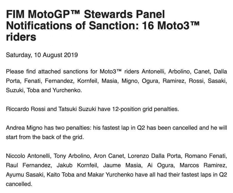 Moto3: Sixteen riders penalized: there is also Fenati!