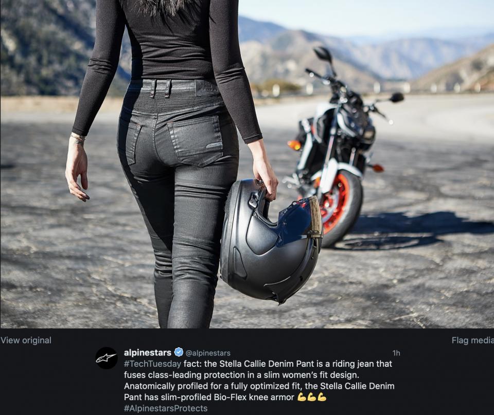 Moto - News: Alpinestars Stella Callie Denim Pant is a riding jean for womens
