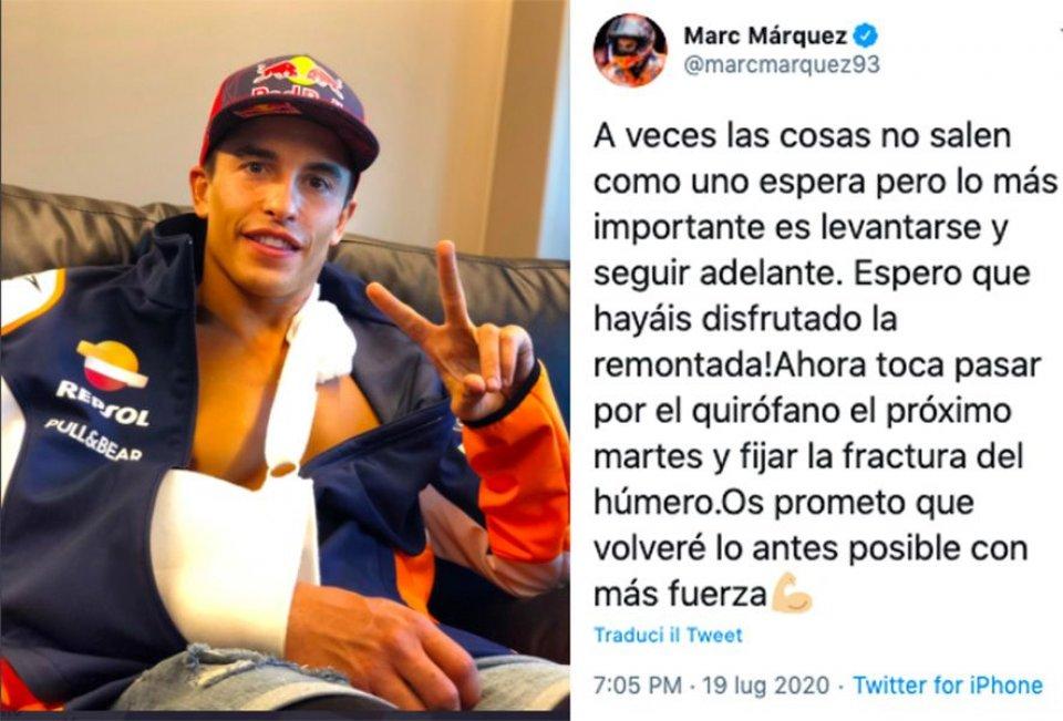 """MotoGP: Marquez: """"Spero vi siate goduti la rimonta, tornerò ancora più forte"""""""