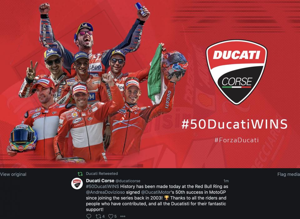 MotoGP: Ducati fa la storia con la 50a vittoria al Red Bull Ring