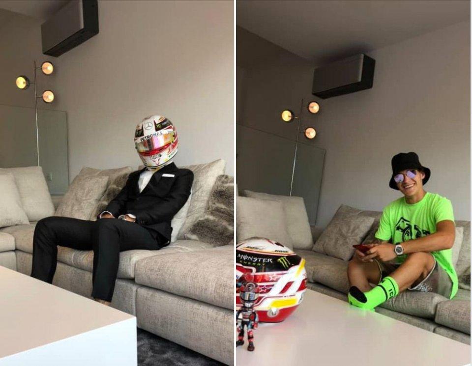 MotoGP: Fabio Quartararo si traveste da Lewis Hamilton